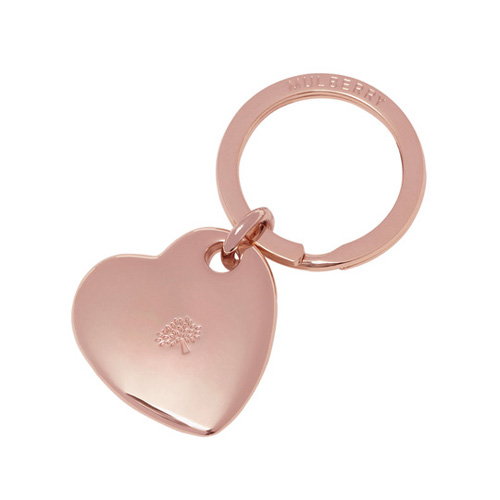 Mulberry Heart Keyring Rose Gold Metal
