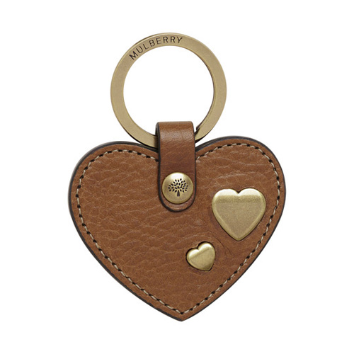 Mulberry Heart Rivet Keyring Oak Natural Leather