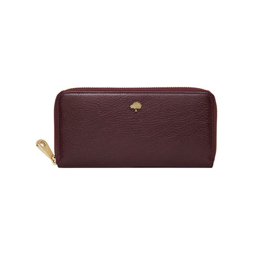 Mulberry Tree Zip Around Wallet Oxblood Natural Leather