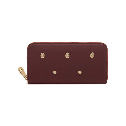 Mulberry Cara Delevingne Zip Around Wallet Oxblood Silky Classic Calf with Rivets