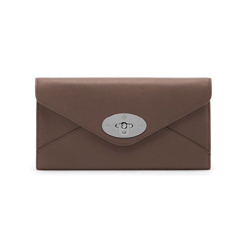 Mulberry Envelope Long Wallet Taupe Silky Classic Calf