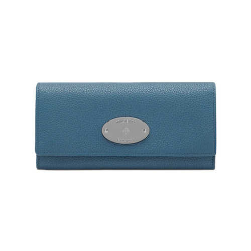 Mulberry Continental Wallet Steel Blue Small Classic Grain