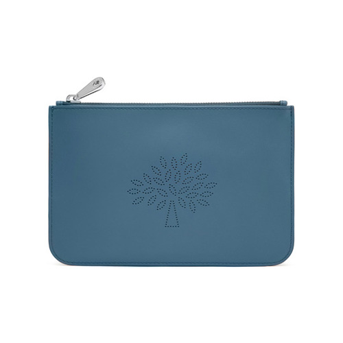 Mulberry Small Blossom Pouch Steel Blue Calf Nappa