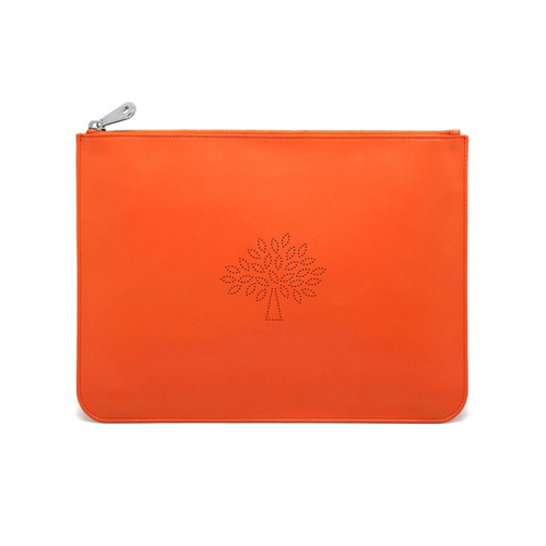 Mulberry Large Blossom Pouch Mandarin Calf Nappa