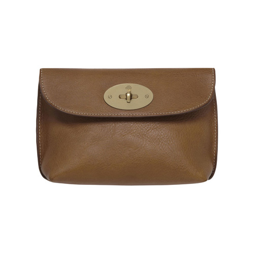 Mulberry Locked Cosmetic Purse Oak Natural Leather With Brass
