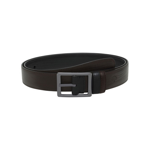 Mulberry Reversible Frame Buckle Belt Black & Chocolate Hand Rolled