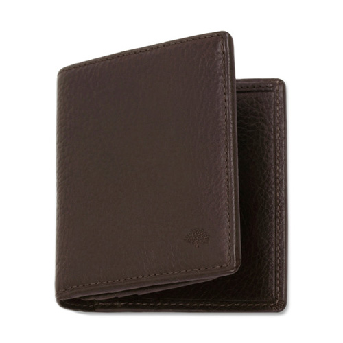 Mulberry Mini Tri Fold Wallet Chocolate Natural Leather