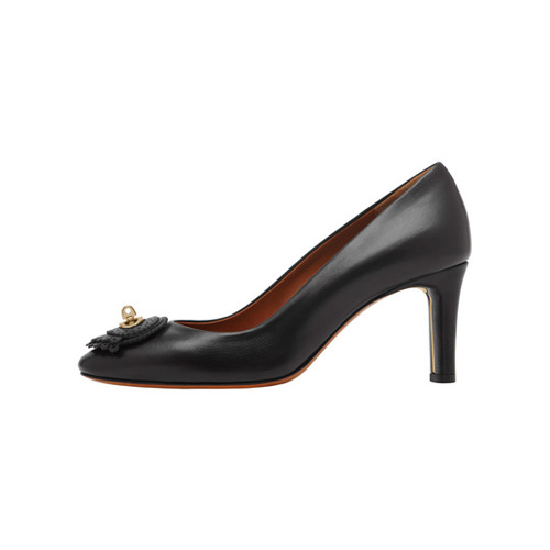 Mulberry Kensington Mid Heel Pump Black Calf & Saddle Leather