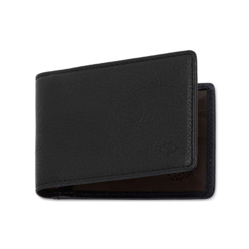 Mulberry Travel Card Holder Black Natural Leather
