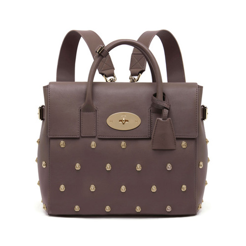 Mulberry Cara Delevingne Bag With Lion Rivets Taupe Silky Classic Calf