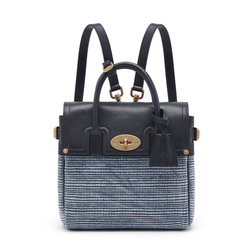 Mulberry Mini Cara Delevingne Bag Midnight Blue Mixed Denim & Natural Leather