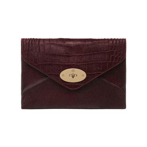 Mulberry Willow Clutch Oxblood Mixed Exotic