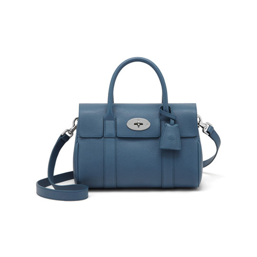 Mulberry Small Bayswater Satchel Steel Blue Small Classic Grain