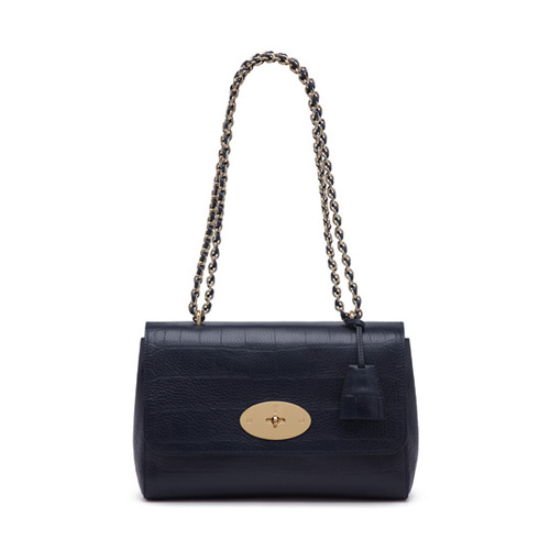 Mulberry Medium Lily Midnight Blue Croc Calfskin