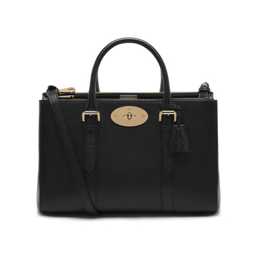 Mulberry Small Bayswater Double Zip Tote Black Shiny Goat