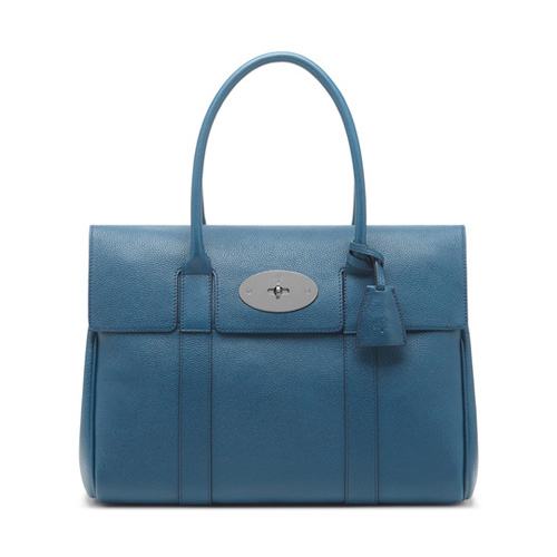 Mulberry Bayswater Steel Blue Small Classic Grain