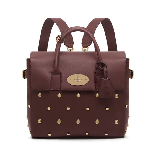 Mulberry Cara Delevingne Bag with Rivets Oxblood Silky Classic Calf