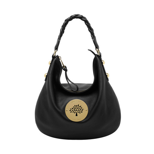 Mulberry Medium Daria Hobo Black Spongy Pebbled