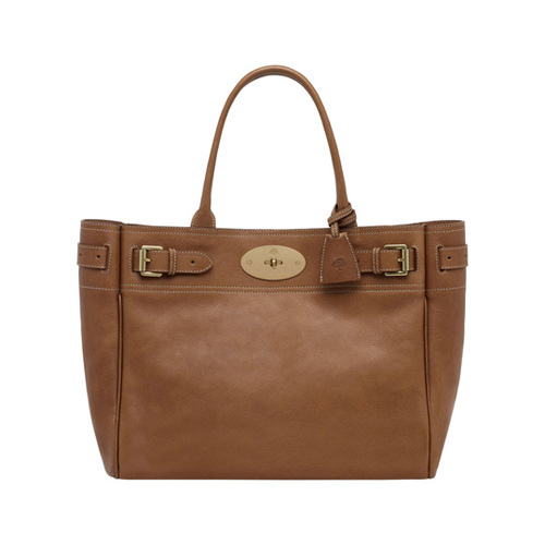Mulberry Bayswater Tote Oak Natural Leather With Brass