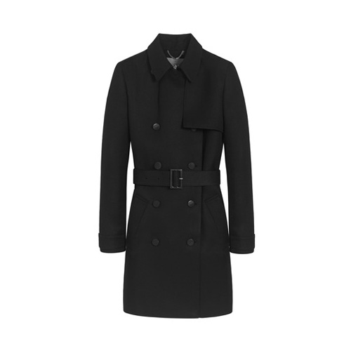 Mulberry Classic Trench Black Double Polished Wool Silk