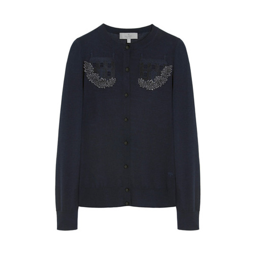 Mulberry Embroidered Cardigan Midnight Blue Silk Merino Blend