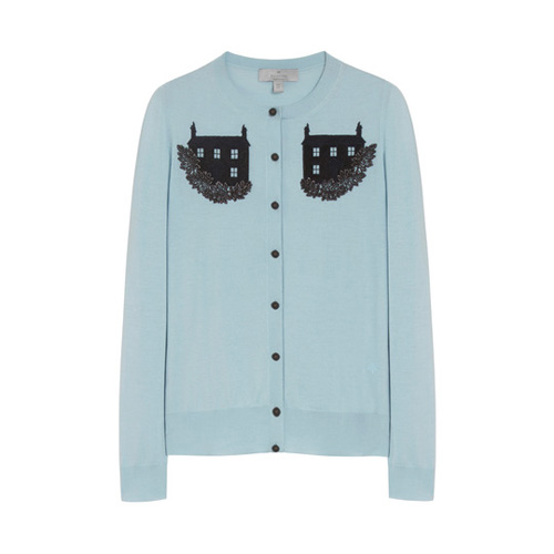 Mulberry Embroidered Cardigan Powder Blue Silk Merino Blend