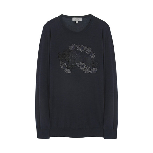 Mulberry Embroidered Crew Neck Jumper Midnight Blue Silk Merino Blend