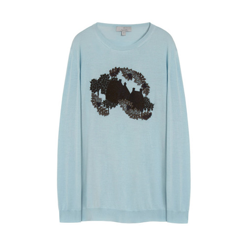 Mulberry Embroidered Crew Neck Jumper Powder Blue Silk Merino Blend