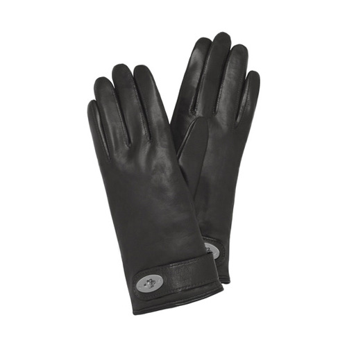 Mulberry Postman's Lock Glove Black & Nickel Nappa
