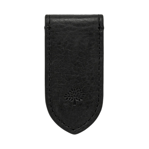 Mulberry Leather Money Clip Black Natural Leather