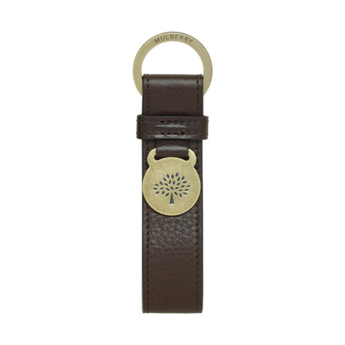 Mulberry Brynmore Keyring Chocolate Natural Leather