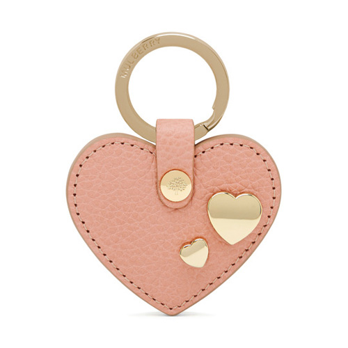 Mulberry Heart Rivet Keyring Rose Petal Small Classic Grain