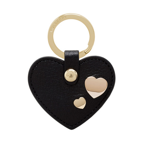 Mulberry Heart Rivet Keyring Black Glossy Goat