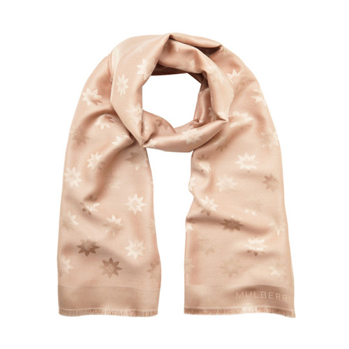 Mulberry Monogram Rectangular Scarf Putty Pink Star Jacquard