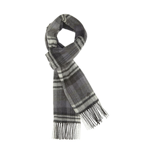 Mulberry Check Scarf Black Merino Cashmere Blend