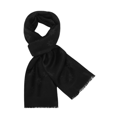 Mulberry Monogram Rectangular Scarf Black Star Jacquard