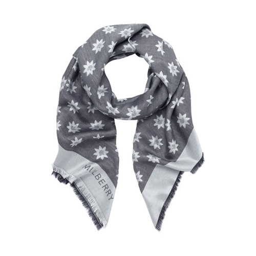 Mulberry Monogram Scarf Midnight Blue Star Jacquard