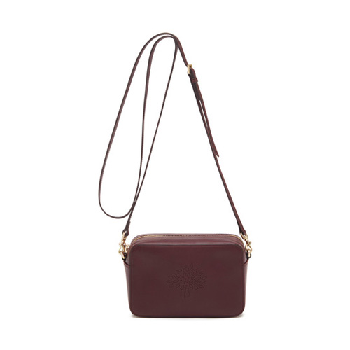 Mulberry Blossom Pochette with Strap Oxblood Calf Nappa