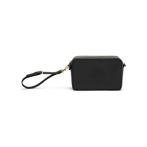 Mulberry Blossom Pochette With Strap Black Calf Nappa
