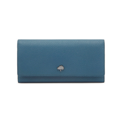 Mulberry Tree Continental Wallet Steel Blue Small Classic Grain
