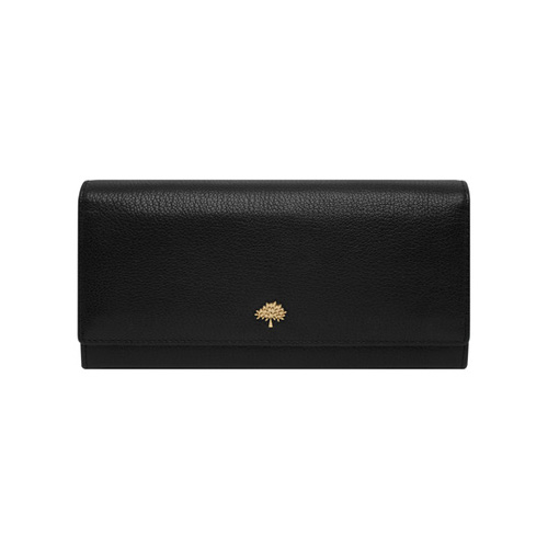 Mulberry Tree Continental Wallet Black Glossy Goat
