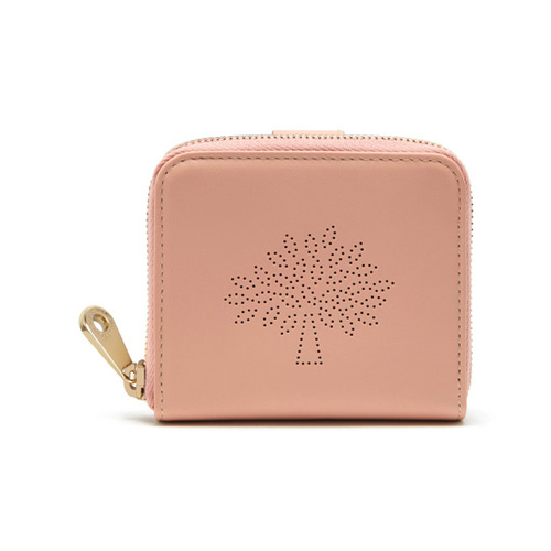 Mulberry Blossom Zip Around Purse Rose Petal Calf Nappa