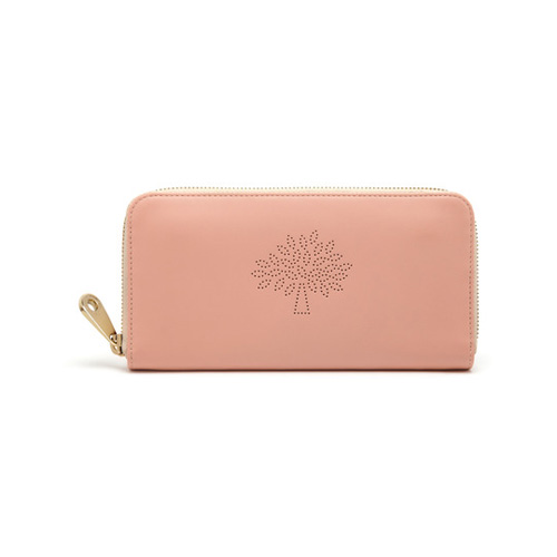 Mulberry Blossom Zip Around Wallet Rose Petal Calf Nappa