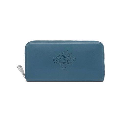 Mulberry Blossom Zip Around Wallet Steel Blue Calf Nappa