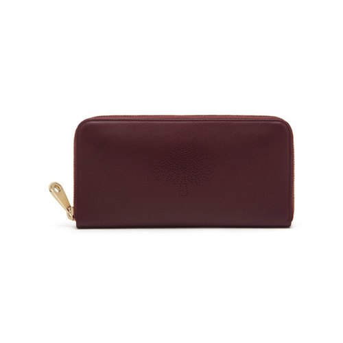 Mulberry Blossom Zip Around Wallet Oxblood Calf Nappa