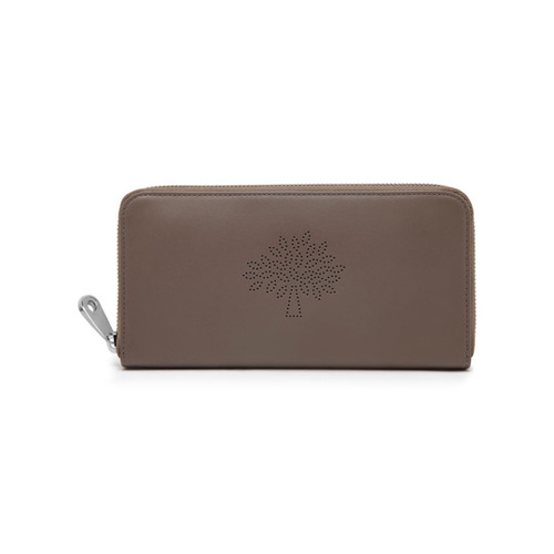 Mulberry Blossom Zip Around Wallet Taupe Calf Nappa