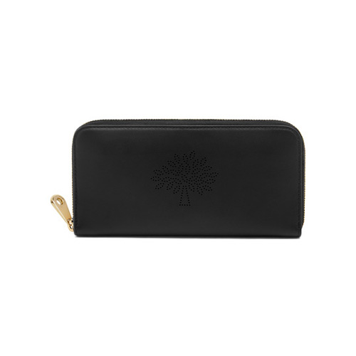Mulberry Blossom Zip Around Wallet Black Calf Nappa