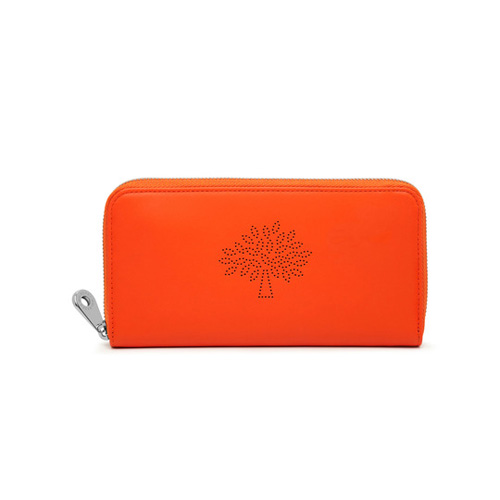 Mulberry Blossom Zip Around Wallet Mandarin Calf Nappa