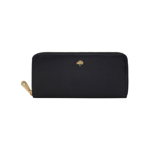 Mulberry Tree Zip Around Wallet Black Glossy Goat