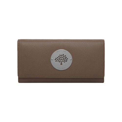 Mulberry Daria Continental Wallet Taupe Spongy Pebbled